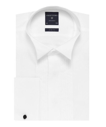 Profuomo Smoking Overhemd - Klassiek - Wit - Slim Fit - Twill - Double Cuff (1)